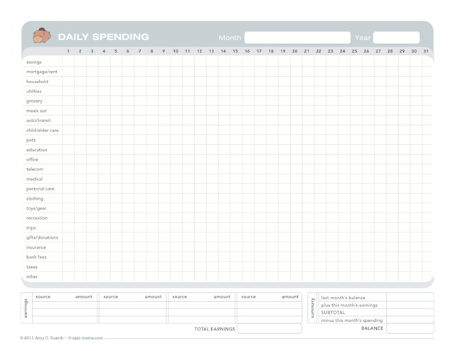 free printable budget chart to record your daily expenses