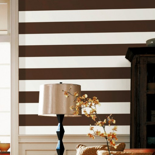 ChocolateBrownWallStickerStripes