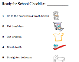 Printable Get Ready for School Chart for Preschoolers