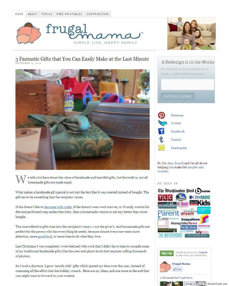 FrugalMamaHomePageScreenshotDec2012