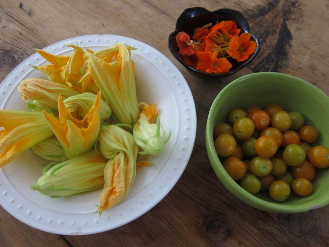 PumpkinFlowersNasturtiumsCherryTomatoes