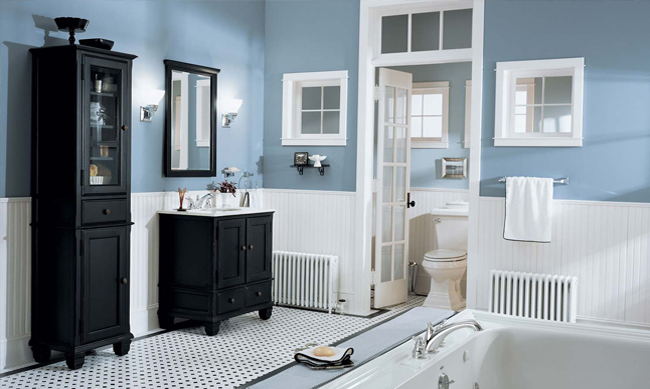 Blue bathroom paint color ideas for Home depot bathroom remodel ideas