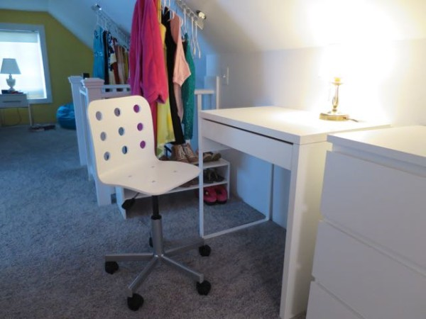 Child's desk and chair for doing homework (IKEA Micke desk and Junior Jules swivel chair)