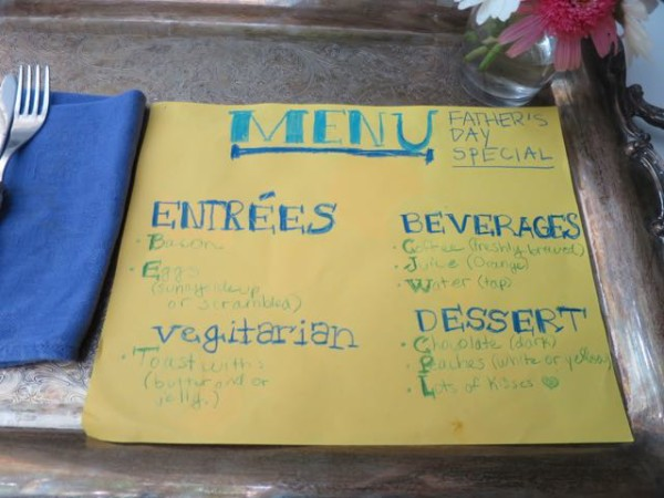 Father's Day breakfast-in-bed menu that the kids made.