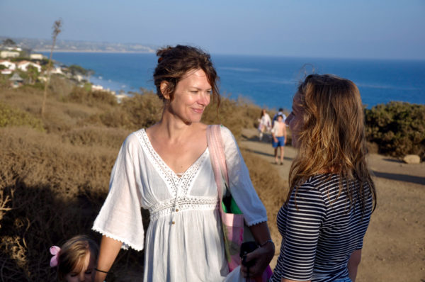 Amy Suardi at beach with family